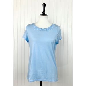 Talbots • Light Blue Braided Short Sleeve Tee • LP